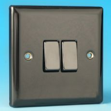 Varilight 2 Gang 2 Way 10A Rocker Light Switch Iridium Black Dec Switch - XI2D